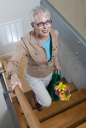 stairs, exercise, senior woman, old lady, diabetes, fitness